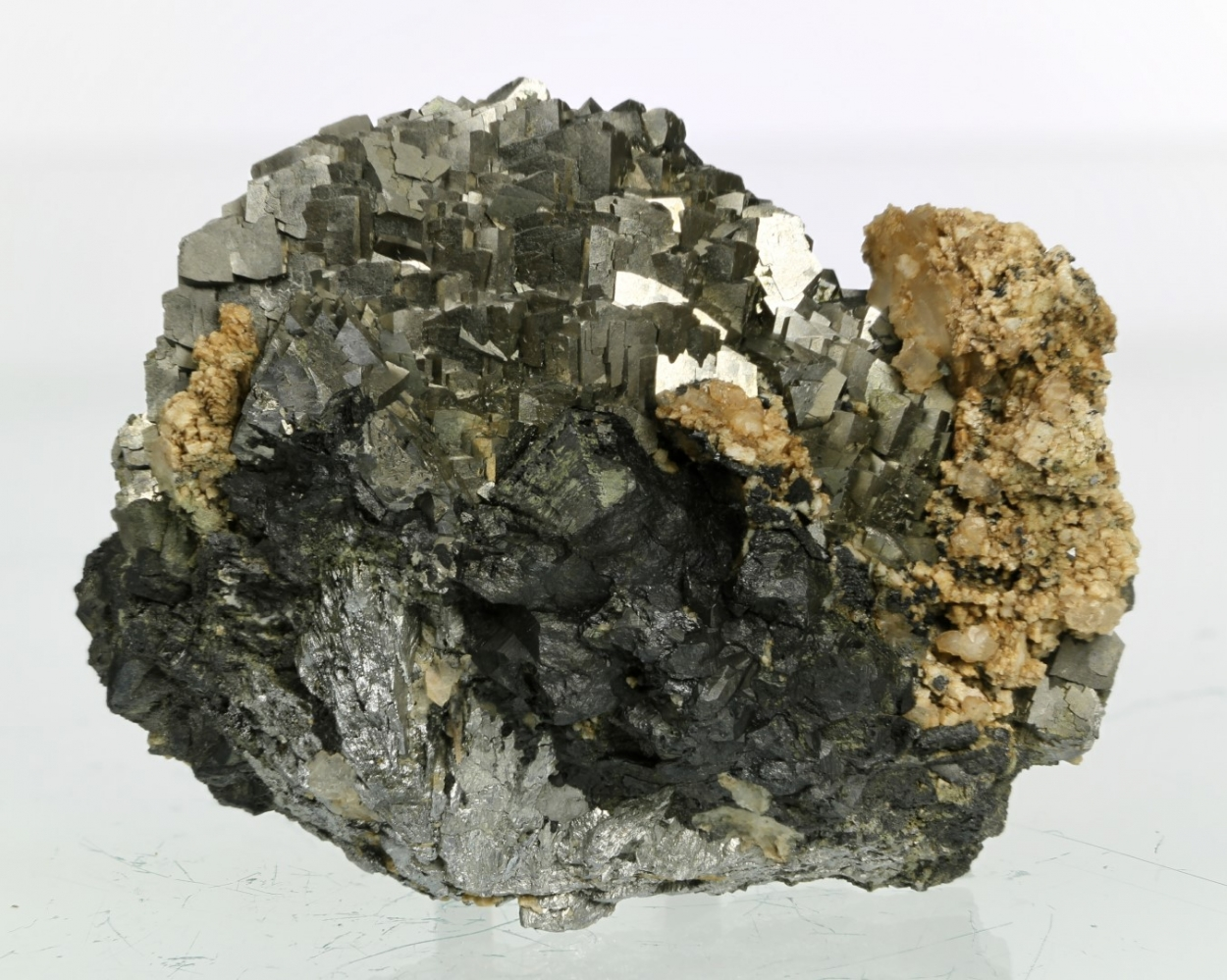 Arsenopyrite With Dolomite On Magnetite On Löllingite