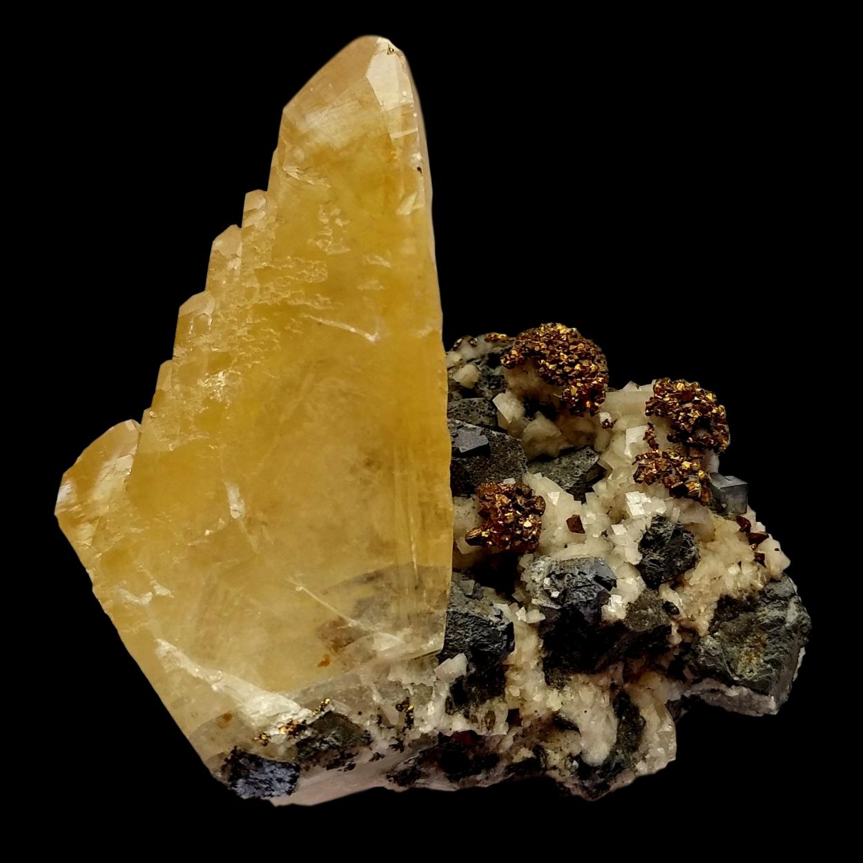 Calcite With Chalcopyrite & Galena