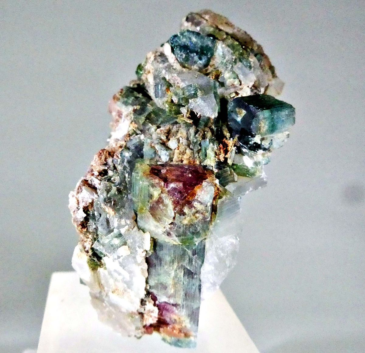 Elbaite & Lepidolite On Quartz