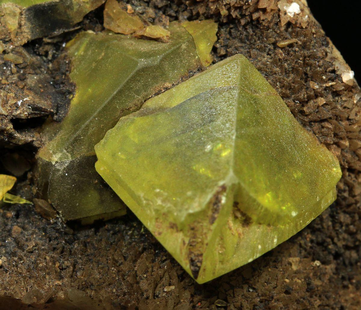 Native Sulphur & On Calcite With Bitumen