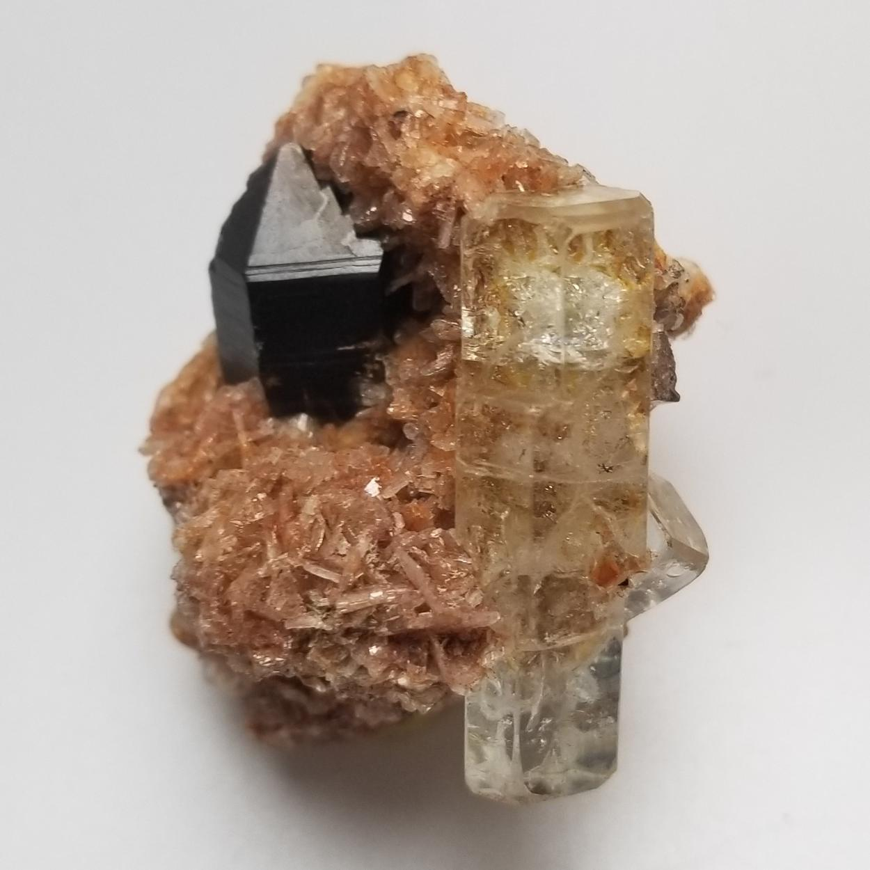 Aquamarine With Smoky Quartz On Albite