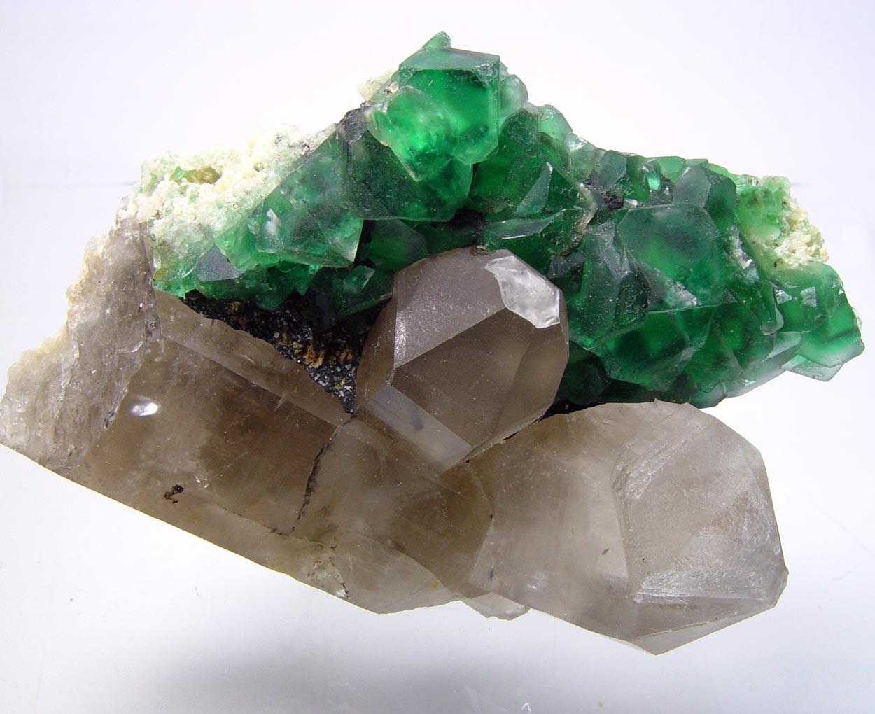 Fluorite On Smoky Quartz