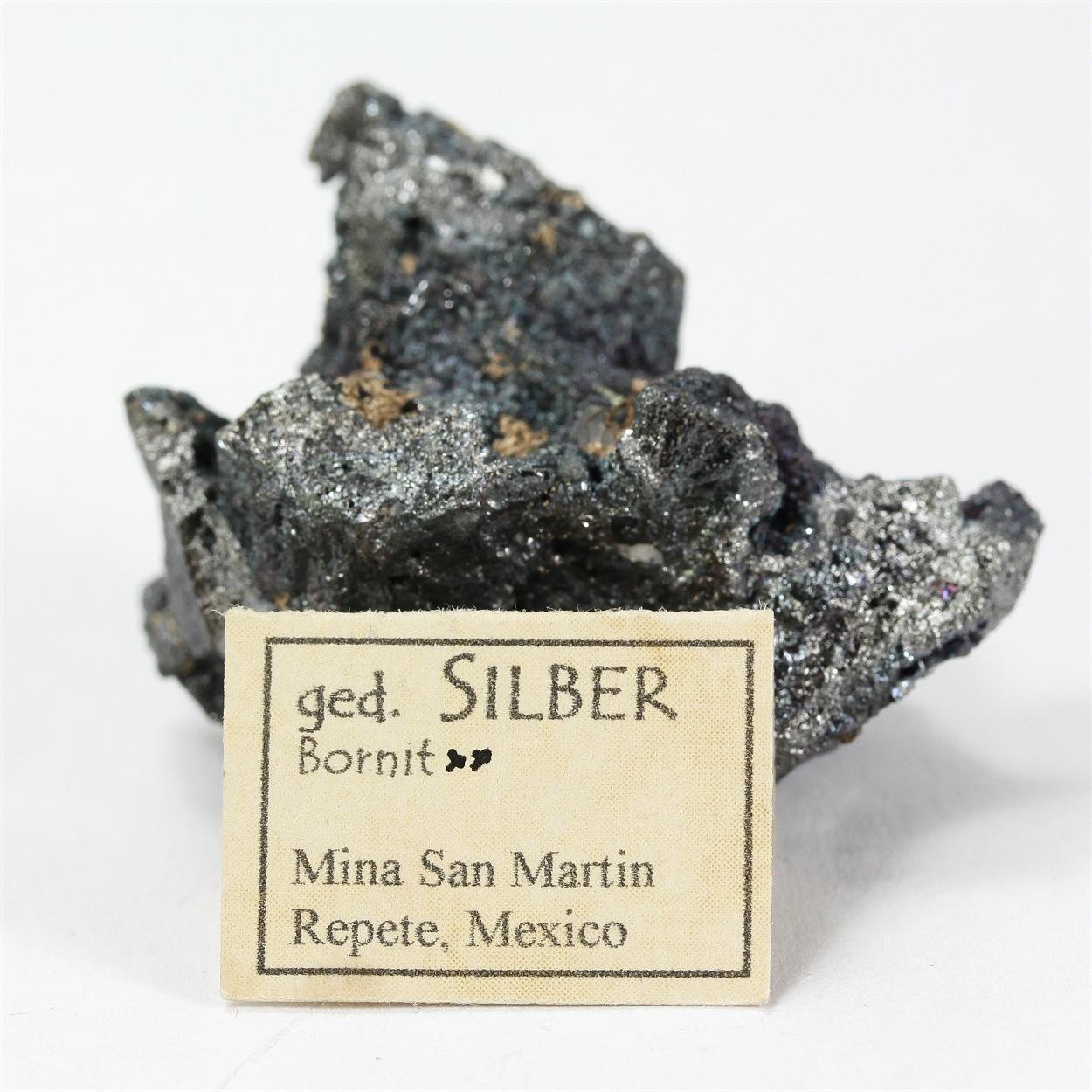 Native Silver With Bornite & Tetrahedrite