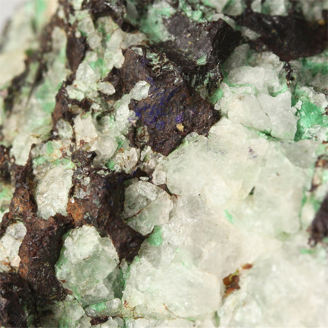 Chalcopyrite With Chrysocolla & Quartz & Gold