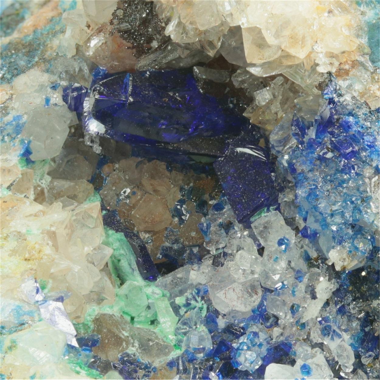 Linarite With Quartz Brochantite Galena & Fluorite