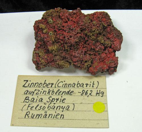 Cinnabar On Sphalerite