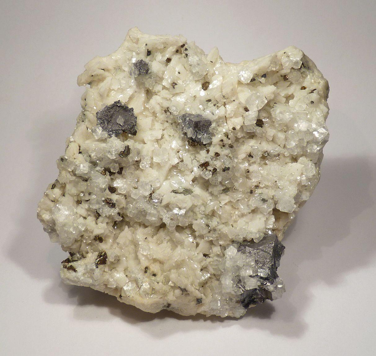 Galena Calcite & Chalcopyrite On Dolomite