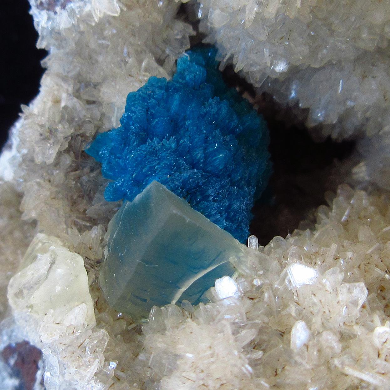 Cavansite With Calcite On Heulandite