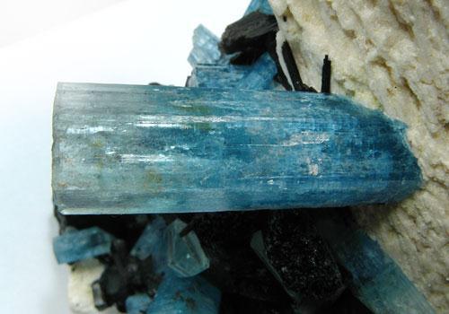 Aquamarine K Feldspar & Schorl