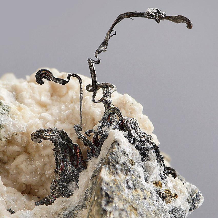 Native Silver On Dolomite & Sphalerite