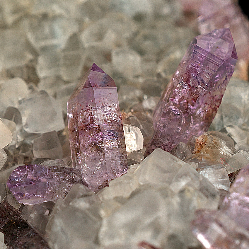 Quartz Var Amethyst On Calcite