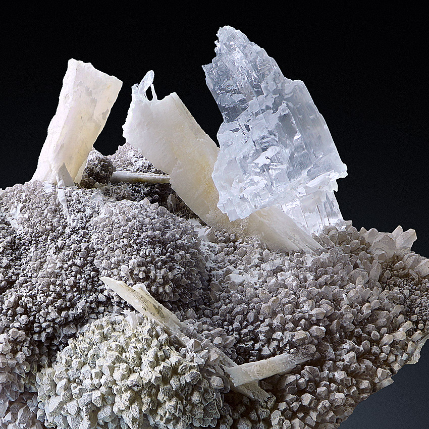 Gypsum Var Selenite With Anhydrite On Quartz & Agate