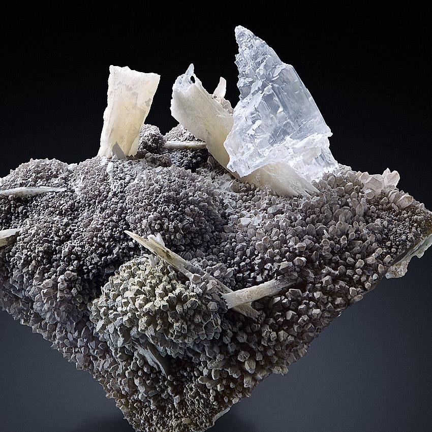 Gypsum Var Selenite With Anhydrite On Quartz & Agate