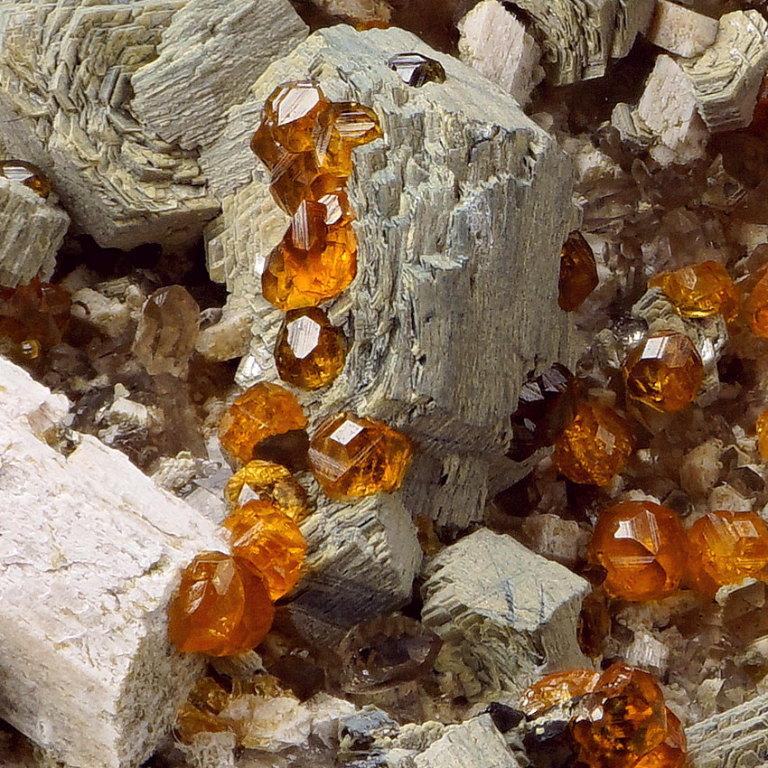 Spessartine & Muscovite With Rock Crystal & Orthoclase