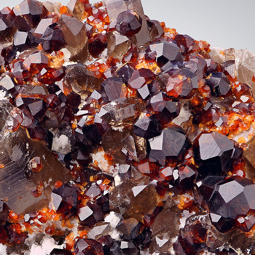 Spessartine With Smoky Quartz