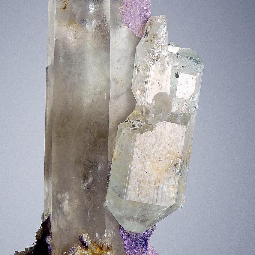 Topaz & Fluorite On Rock Crystal