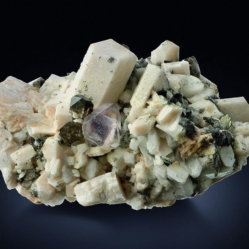 Fluorite On Orthoclase With Smoky Quartz