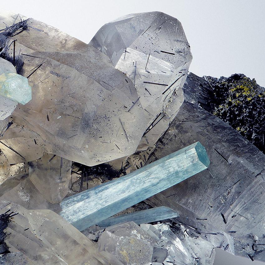 Aquamarine & Fluorite On Smoky Quartz
