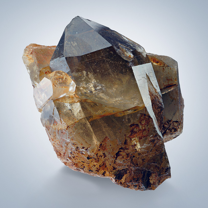 Topaz On Smoky Quartz
