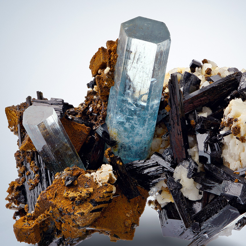 Aquamarine & Limonite Psm Siderite With Schorl