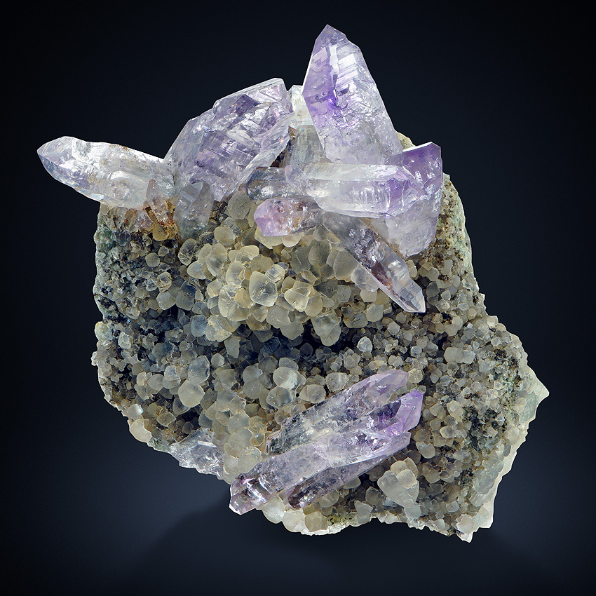 Amethyst On Calcite