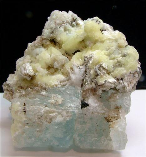 Autunite With Aquamarine & Muscovite