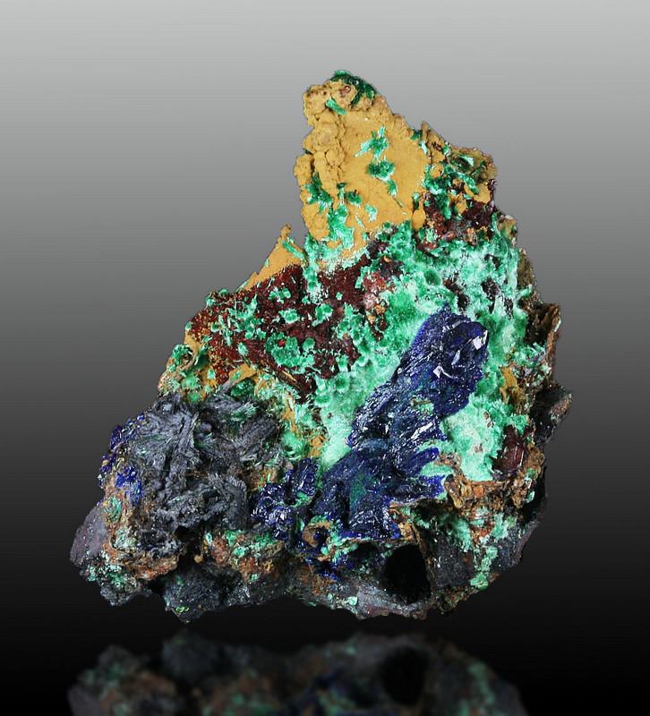 Azurite & Malachite On Goethite Psm Limonite Psm Calcite On Calcite