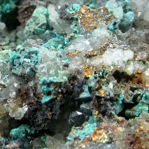 Chalcopyrite & Malachite On Quartz