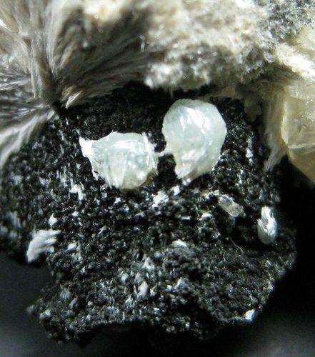 Apophyllite With Julgoldite & Calcite On Pectolite