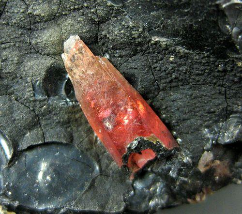 Rhodochrosite On Pyrolusite On Magnetite
