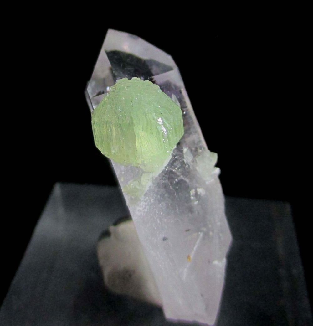 Prehnite On Amethyst With Hematite Inclusions