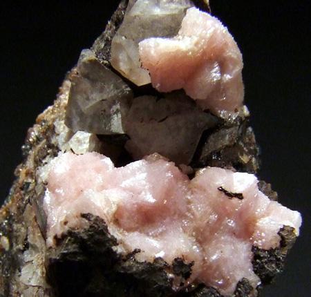 Rhodochrosite On Calcite & Sturtite