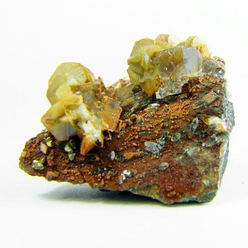 Fluorite & Calcite On Siderite