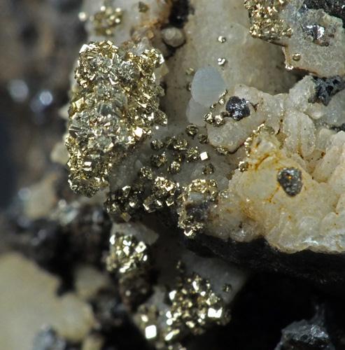 Pyrite & Native Silver On Calcite
