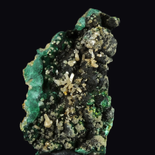 Cerussite On Tenorite & Malachite