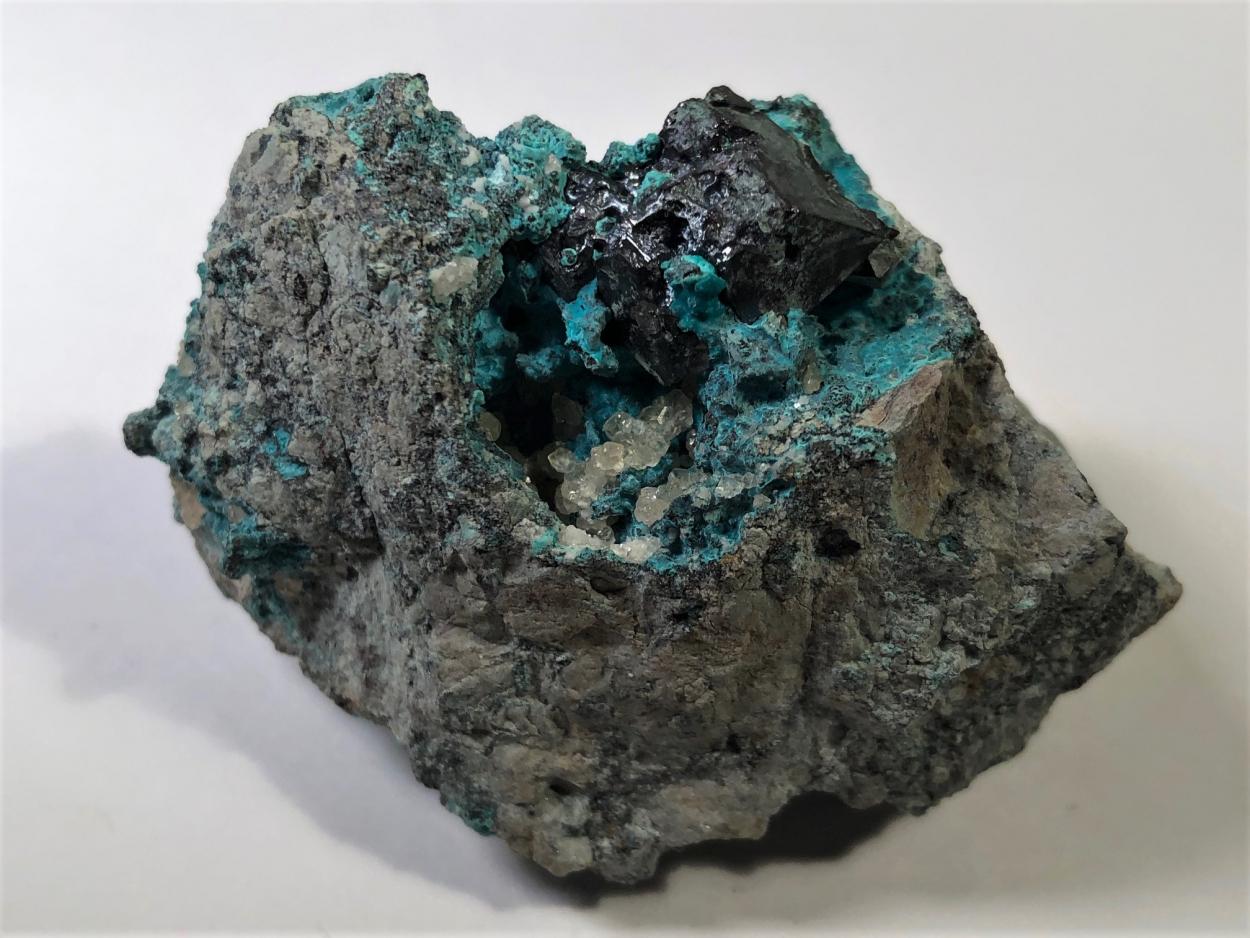 Cuprite With Chrysocolla & Calcite