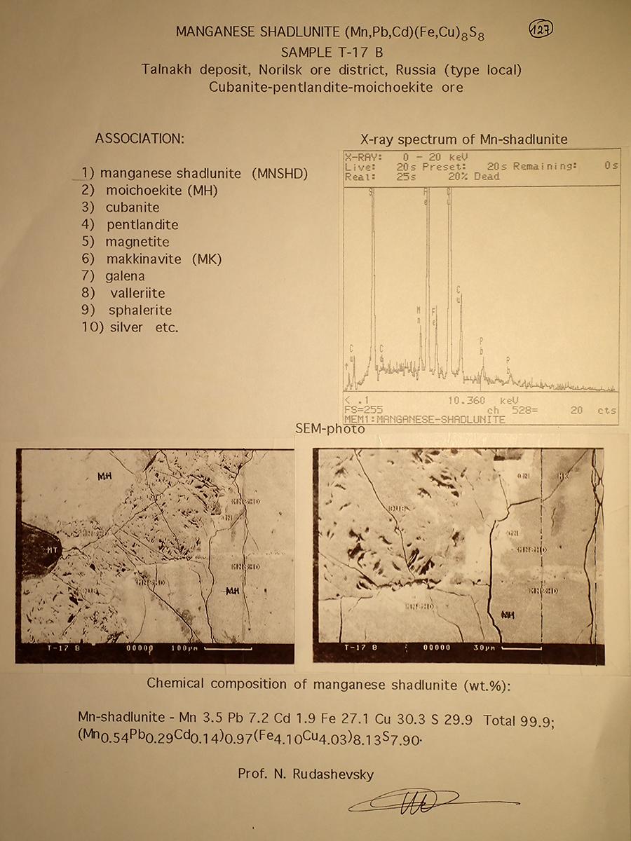 Manganoshadlunite Mooihoekite & Pentlandite
