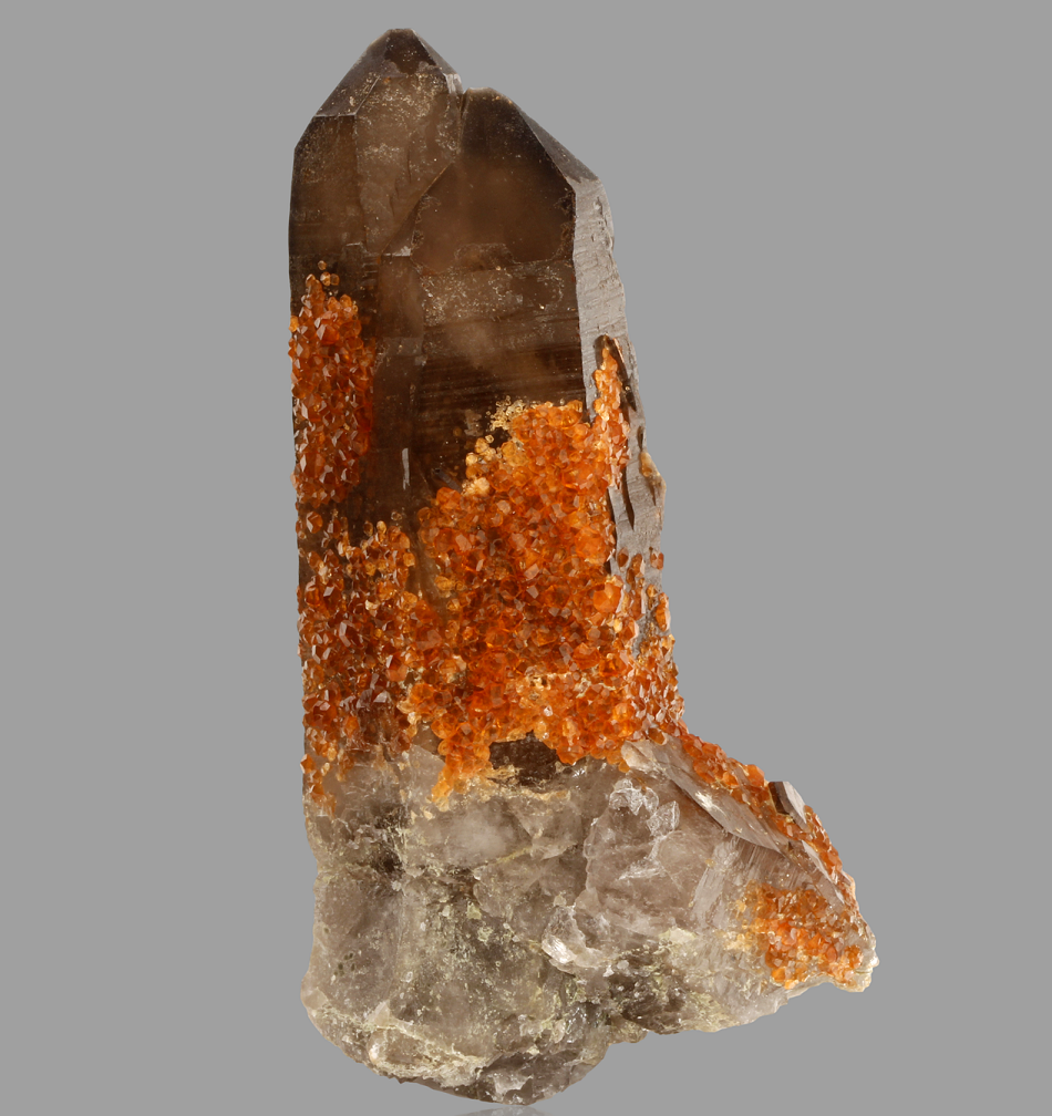 Spessartine On Smoky Quartz