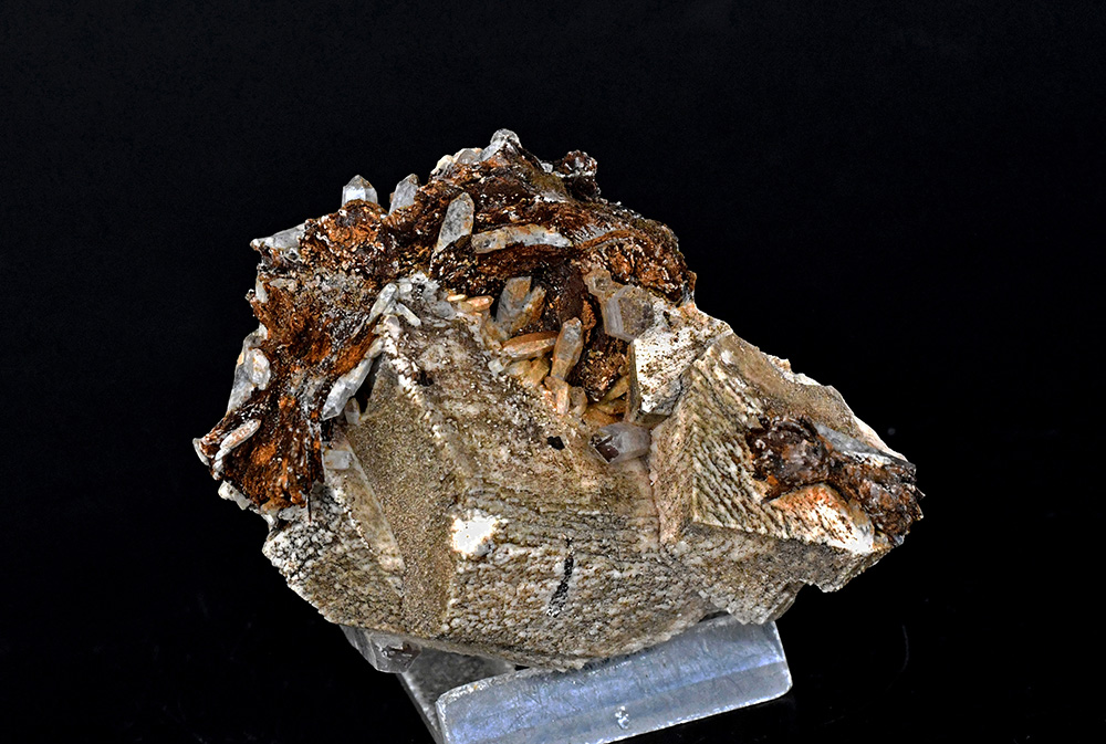 Niobophyllite & Quartz On Orthoclase