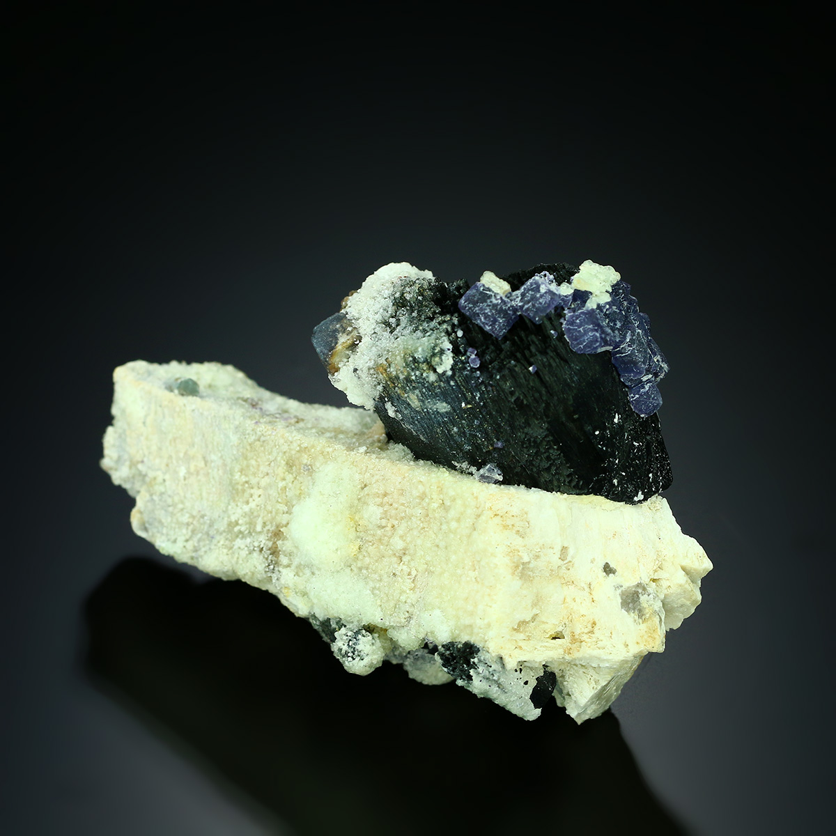 Fluorite On Tourmaline Var Schorl On Feldspar Group