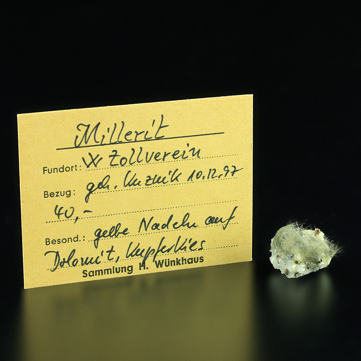 Millerite With Chalcopyrite On Dolomite