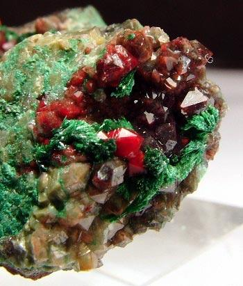 Quartz With Chalcotrichite & Malachite