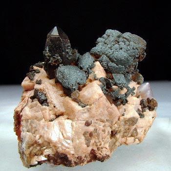 Smoky Quartz Fluorite & Goethite Psm Siderite