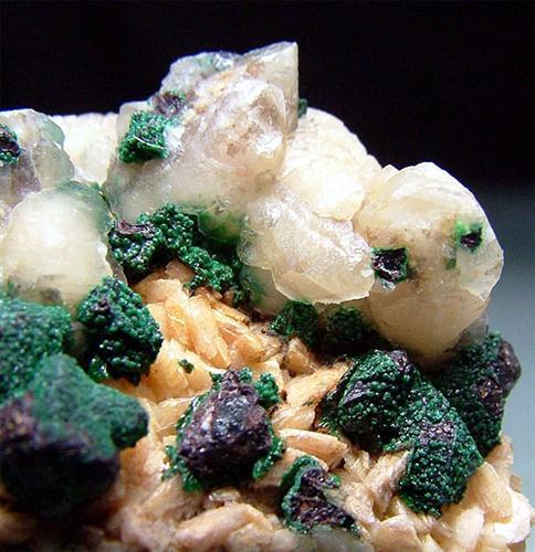 Chalcopyrite Malachite With Calcite & Dolomite