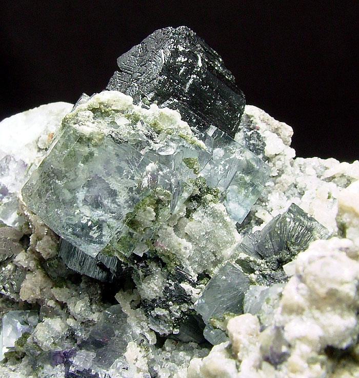 Fluorite With Bismuthinite Inclusions & Ferberite