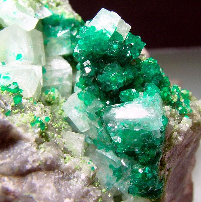 Dioptase & Duftite On Calcite