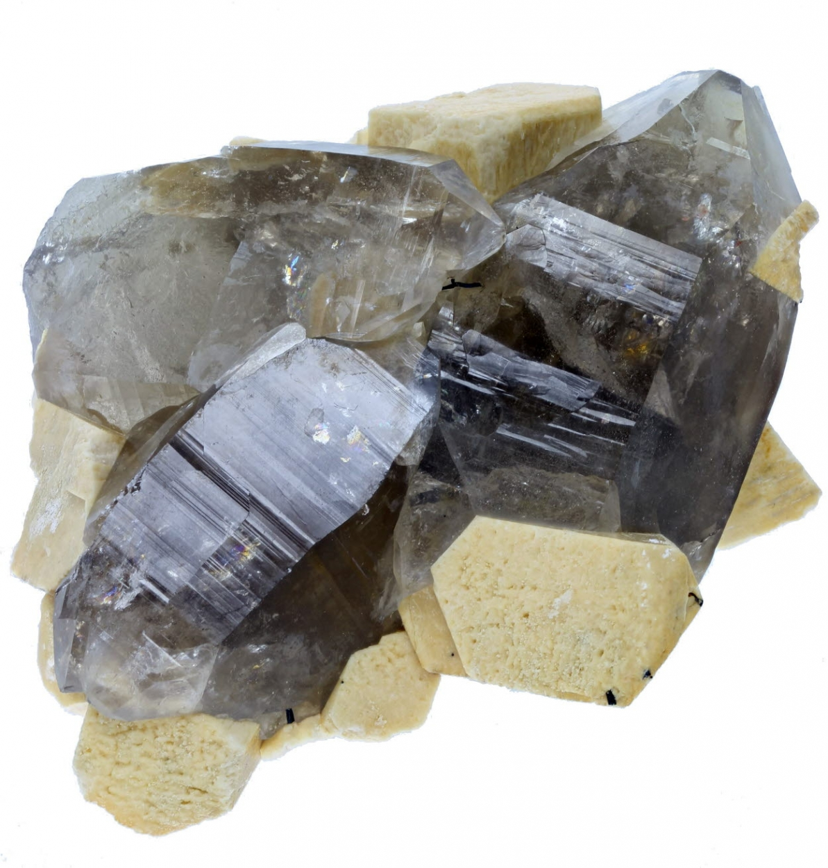 Microcline & Smoky Quartz With Fluorite