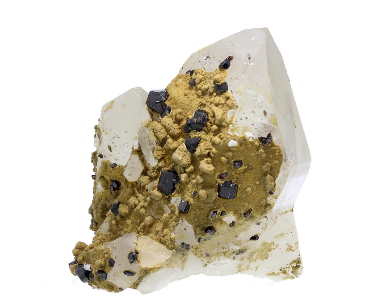 Cassiterite With Siderite On Quartz