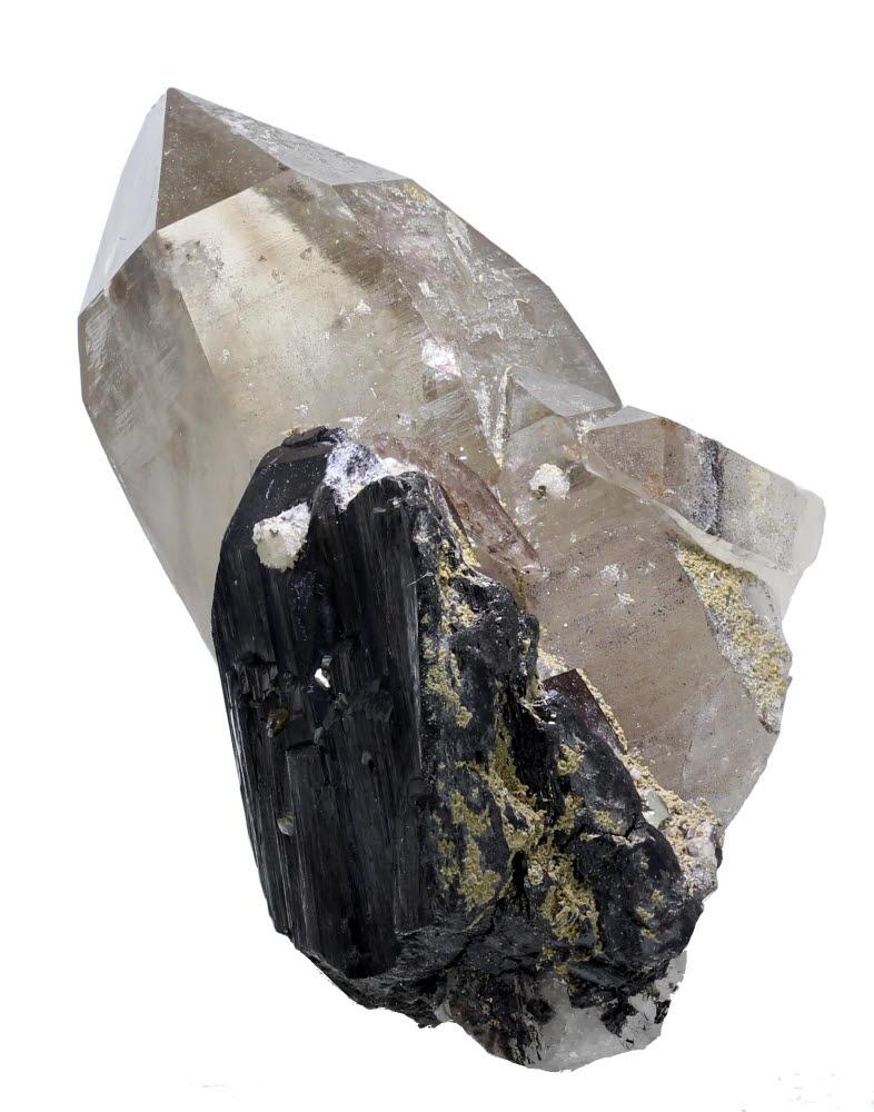 Smoky Quartz With Scheelite Inclusions & Wolframite