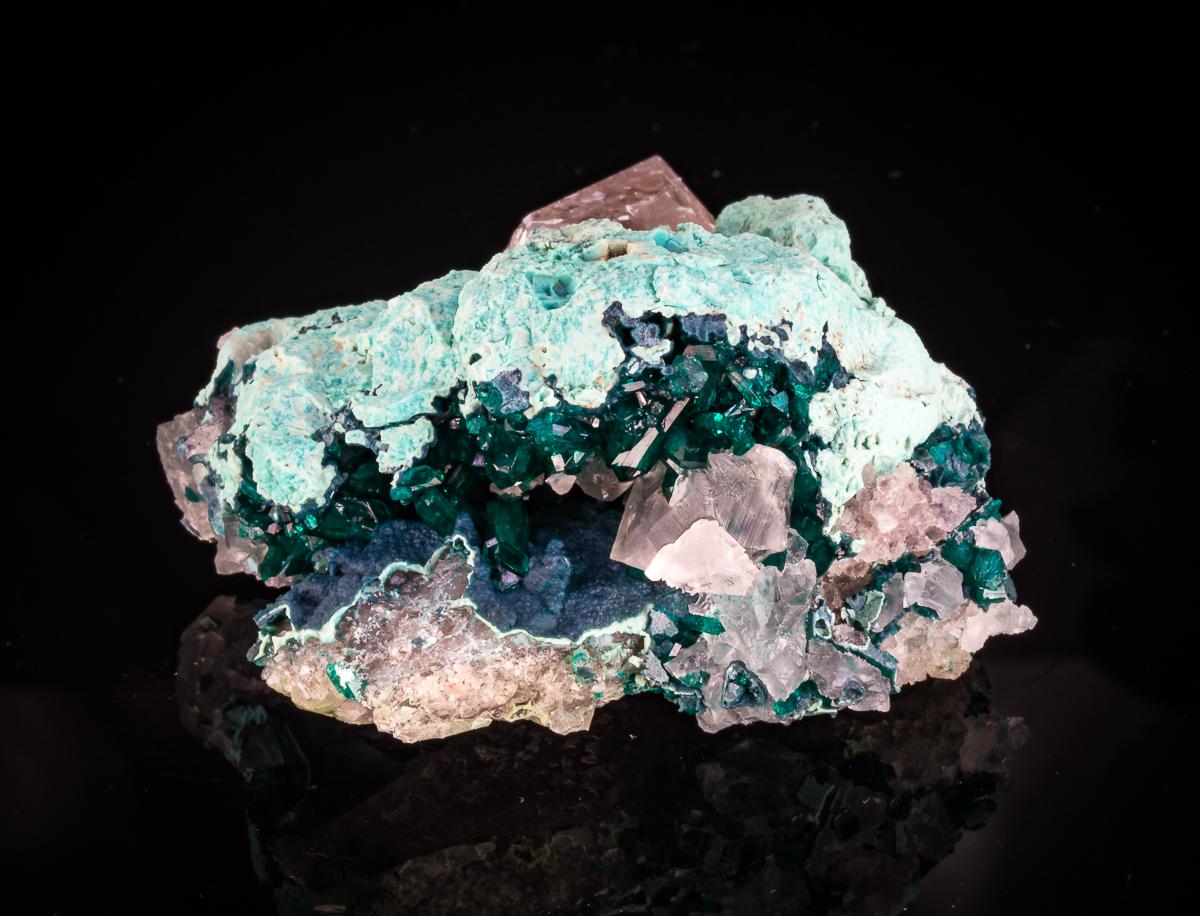 Dioptase Shattuckite Plancheite & Calcite